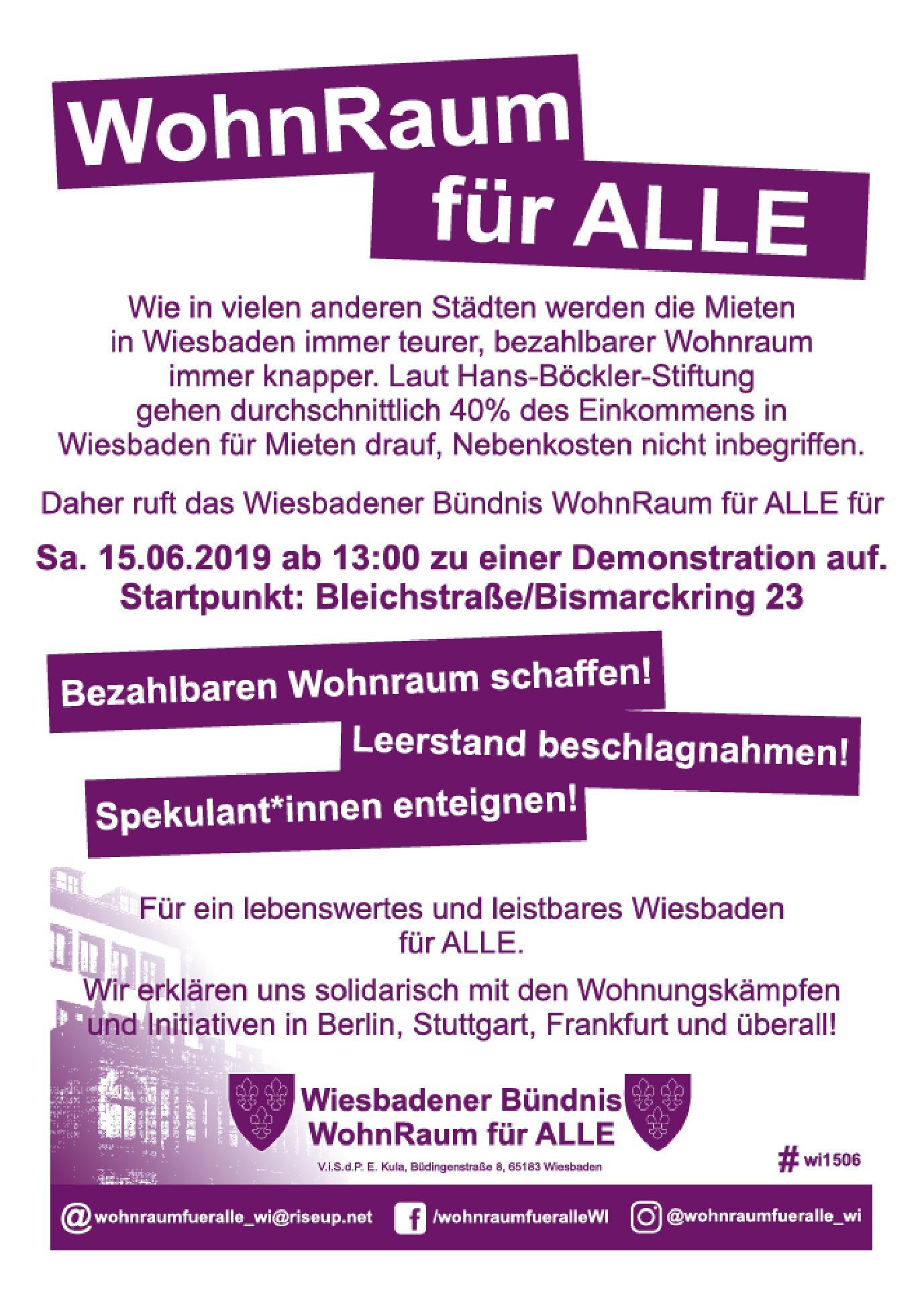 150619 Demo Wohnraum Für Alle In Wiesbaden Aku Arbeitskreis
